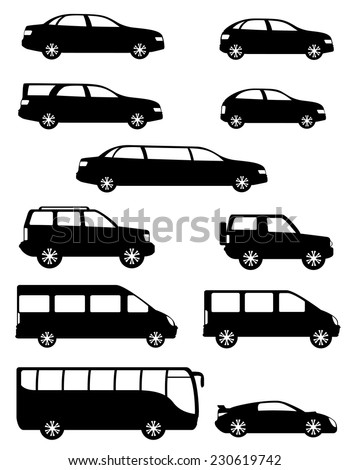 set icons passenger cars with different bodies black silhouette vector illustration isolated on white background - stock vector