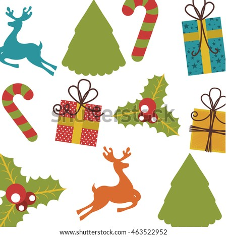 set icons pattern christmas icon vector illustration design