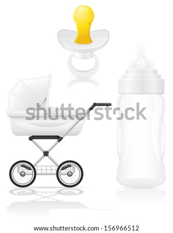 set icons perambulator bottle and pacifier vector illustration isolated on white background - stock vector