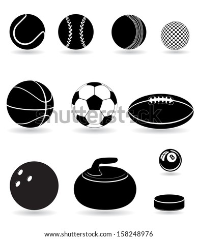 set icons sport balls black silhouette vector illustration isolated on white background - stock vector