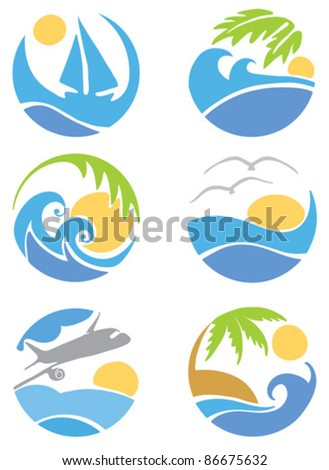 Set icons -- travel & vacation - stock vector