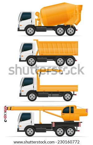 set icons trucks designed for construction vector illustration isolated on white background - stock vector