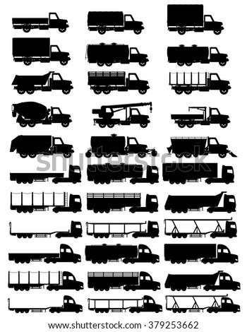 set icons trucks semi trailer black silhouette vector illustration isolated on white background - stock vector