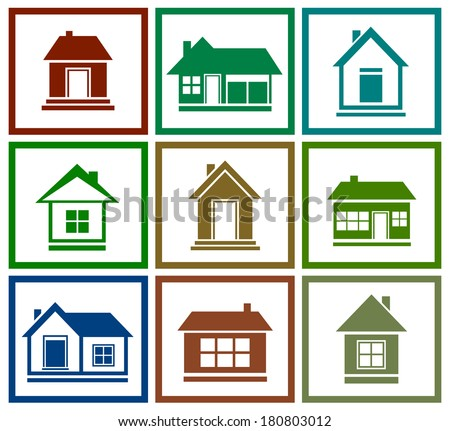 set icons with isolated colorful house silhouette - stock vector