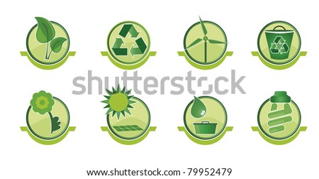 Set icons with social issues such as recycling and sustainable world. - stock vector
