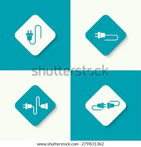 Set icons with wire plug and socket. Concept connection, connection, disconnection, electricity. Flat design.  - stock vector