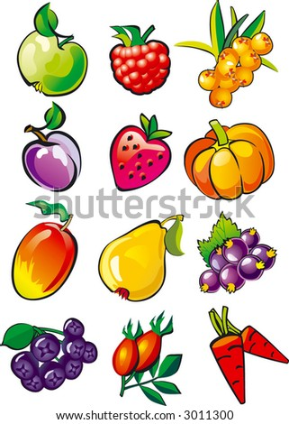 Set illustrations of fruit and berries