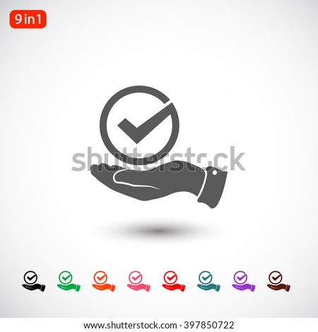 Set 9 in 1: gray Tick icon, black Tick icon, green Tick icon, orange Tick icon, pink Tick icon, red Tick icon, blue Tick icon, purple Tick icon, brown Tick icon - stock vector