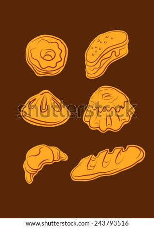 Set in the form of contour illustrations of flour products from bakery and confectionery shop
