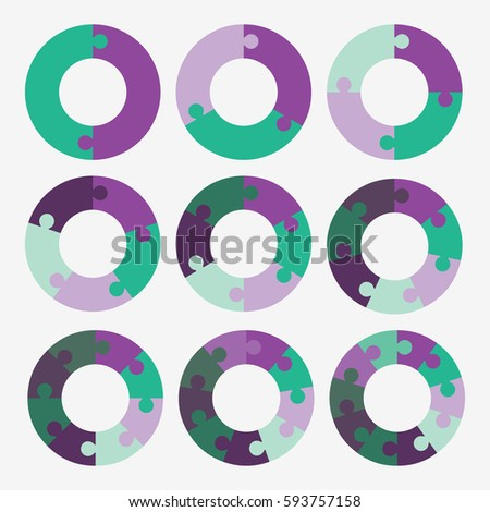 Set Info Template Pie Purple And Green Charts With 2 3 4 5