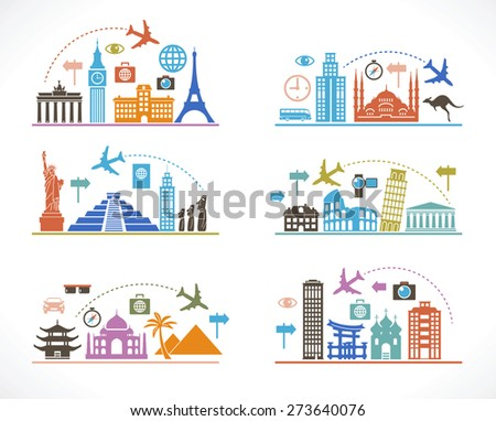 Set infographic design with travel icons and airplane. Flat design travel background. concept of traveling around the world. Famous international landmarks.  - stock vector