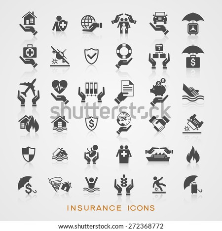 Set insurance icons. File is saved in AI10 EPS version. This illustration contains a transparency  - stock vector