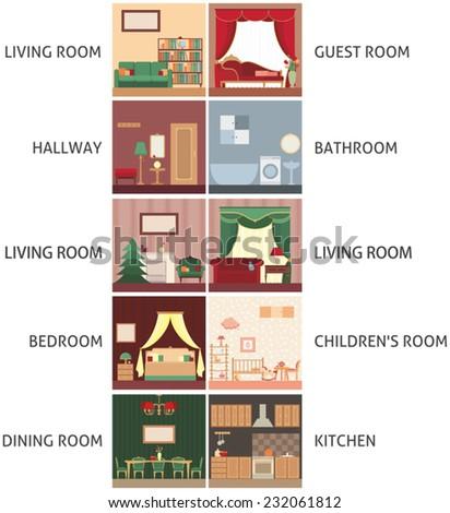 Set interior elements, set different room - stock vector