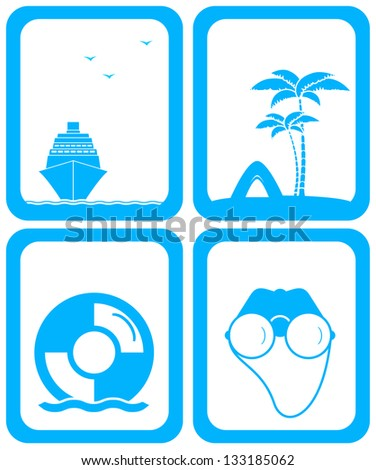 set isolated blue background for travel services - stock vector