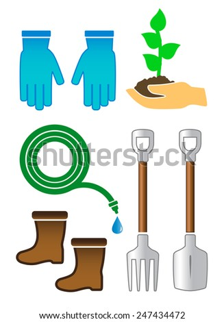 set isolated gardening color tools on white background - stock vector