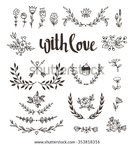 set isolated hand drawn design elements with stylish lettering with love wedding