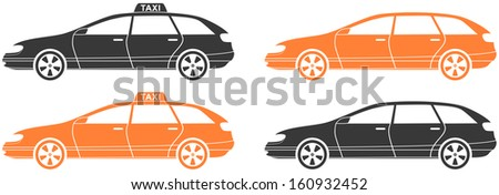 set isolated modern car and taxi cab silhouette  - stock vector