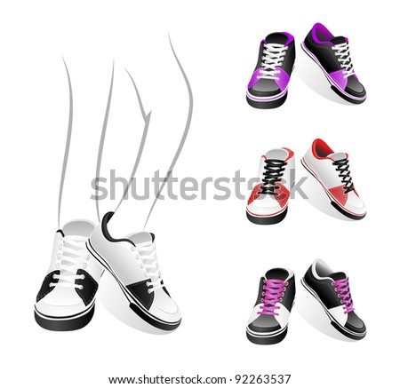 Set isolated stylish of sneakers - stock vector