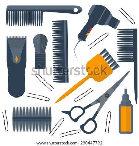 Set isolated tools for hairdressers in a flat style. Combs, brushes, scissors, hair dryer. The modern concept of icons for your design. Vector illustrations - stock vector