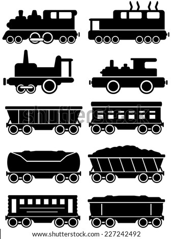 set isolated trains with freight and passenger car  silhouette for rail way - stock vector