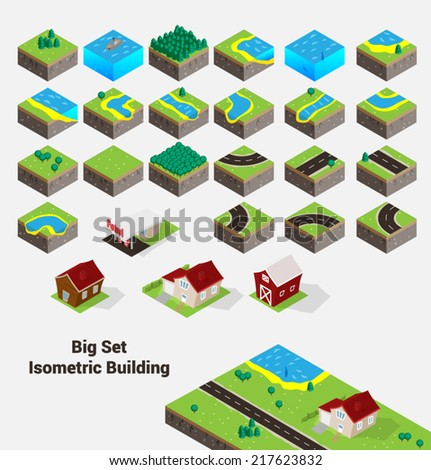 Set Isometric vector building. Construction.
