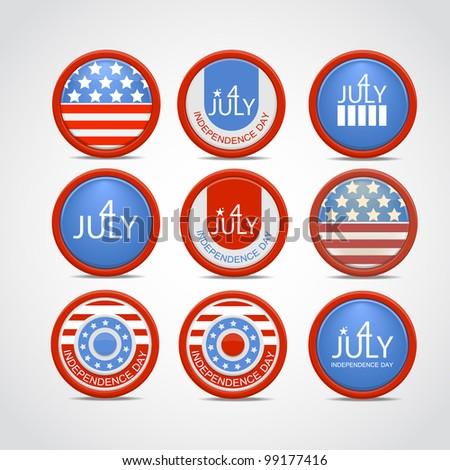 Set 4 july vector badge - stock vector