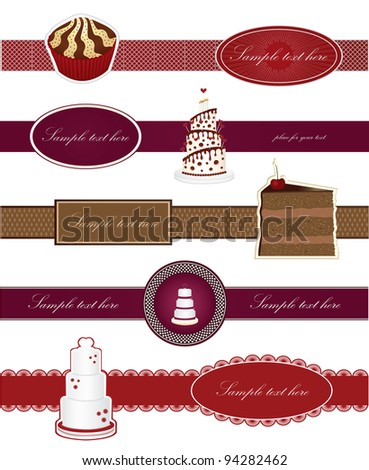 Set labels with sweet cakes vector - stock vector