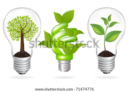 Set Lamps, Eco Concept, Isolated On White Background, Vector Illustration