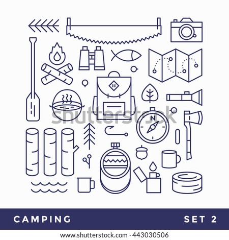 Set line icons camping, tourism. Set includes: tourist, canoeing, pot, knife, ax, shovel, hook, lighter, flask, cup, paddle, sun, rope, camera, backpack, flashlight, map. Vector blue icon on white. - stock vector