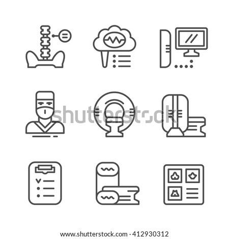 Set line icons of magnetic resonance imaging - stock vector