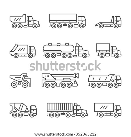 Set line icons of trucks isolated on white. Vector illustration - stock vector