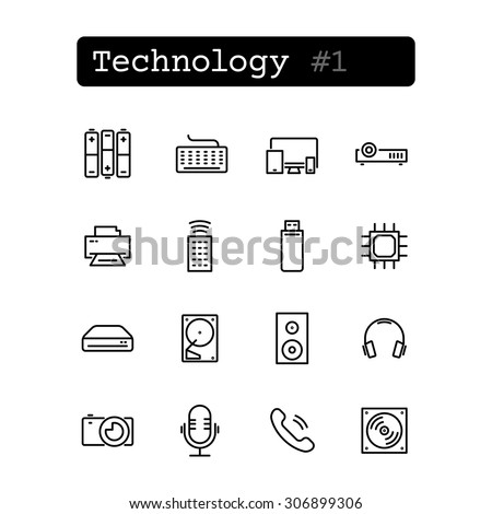 Set line thin icons. Vector. Technology, electronics. - stock vector