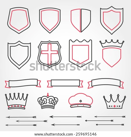 Set line vector shields heraldic crowns ribbons arrows  - stock vector