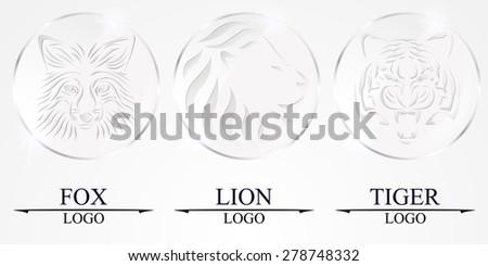 Set. Lion face, fox face and tiger face logo glass emblem template for business or t-shirt design. Vector Vintage Design Element. - stock vector