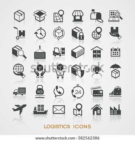 Set Logistics icons. The file is saved in the version 10 EPS.
