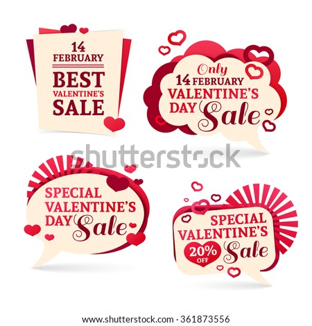 Set logo, sets, badges, stickers for Valentine's Day promotion. Notice of discounts, price tags sale Valentine's Day. Vector. - stock vector