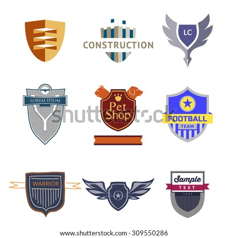 Set logo templates with a shield. Heraldic style. Logos on various topics. - stock vector