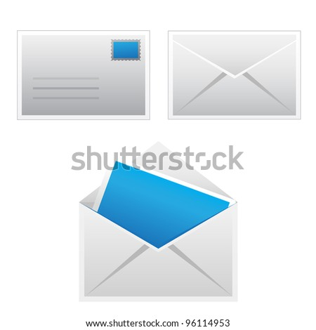 Set mail icon - stock vector