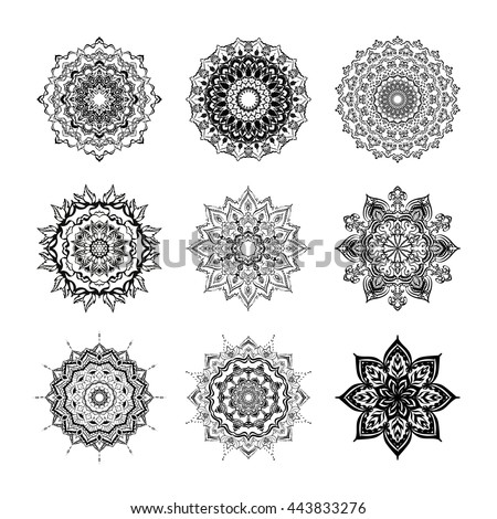 Set Mandalas. Round Ornament Pattern. Geometric circle element made in vector. Spiritual and ritual symbol of Islam, Arabic, Indian religions.  Oriental motifs.    - stock vector