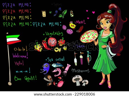 set menu for pizza and a beautiful girl and the Italian flag constituents of different ingredients - seafood mix, meat, vegetables, mushrooms, sauces and spices on black, vector illustration - stock vector