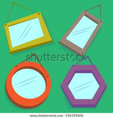 Set Mirrors Frame Cartoon Vector - stock vector