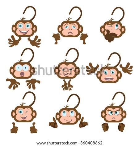 Set monkeys on white background  - stock vector