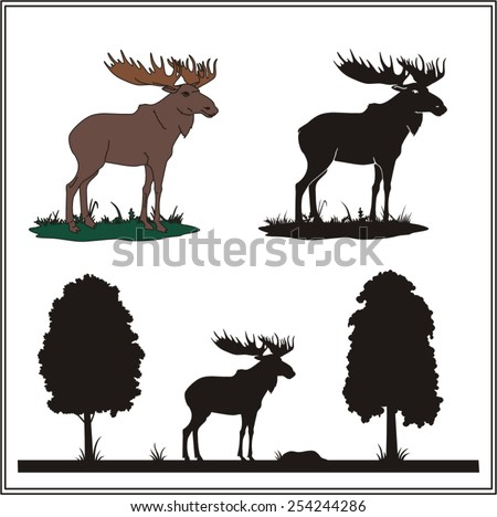 Set moose, elk. Forest animal. Collection isolated moose on white background. Moose in profile and silhouette. - stock vector