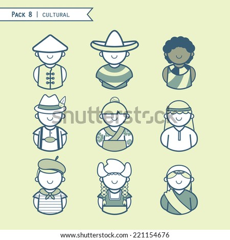 Set multicultural people icon color green, characters, typical costume