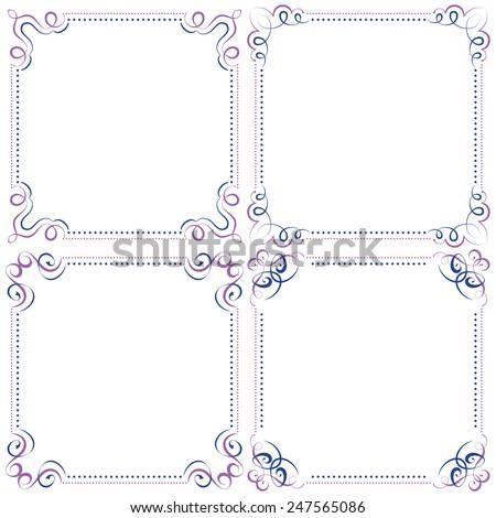 set Multilayer vector violet blue elegant square frame - stock vector
