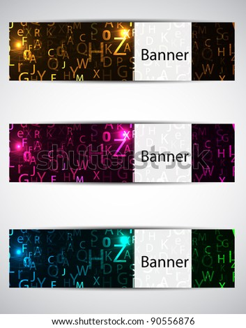 set neon banners. vector illustration