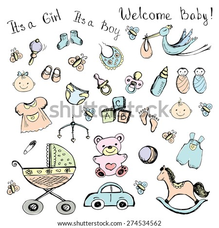 set newborn baby items,accessories and toys, vector - stock vector