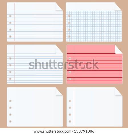 Set notebook paper - stock vector
