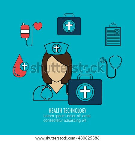 set nurse services medical isolated
