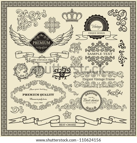 Set od vintage design elements. - stock vector